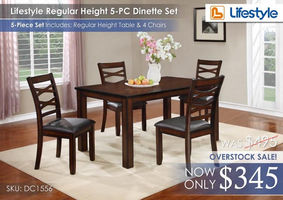 Lifestyle Reg Height Dinette 5PC Set
