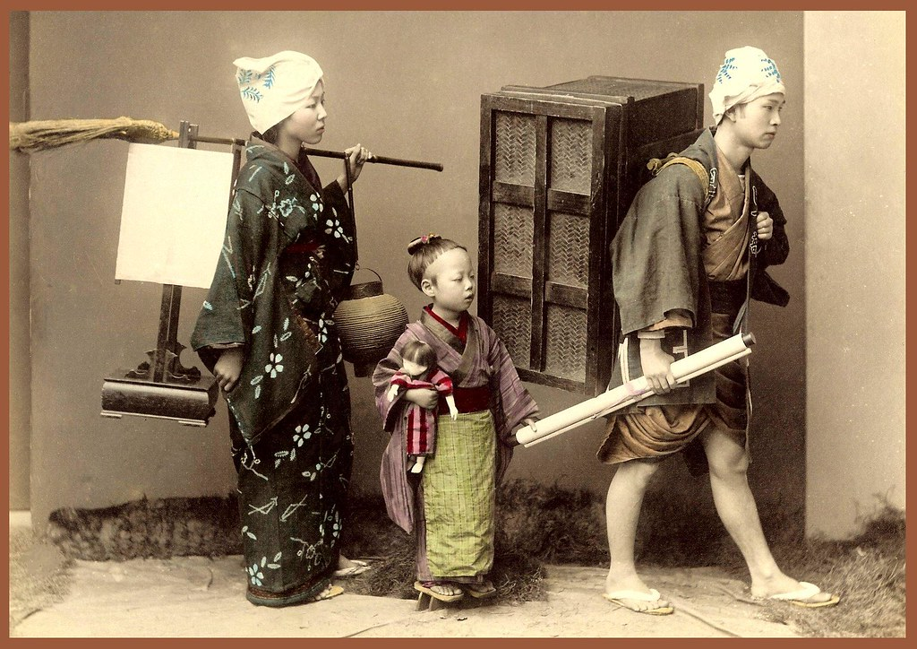 MOVING DAY  A Domestic Scene in Old Japan  A nice 1880s