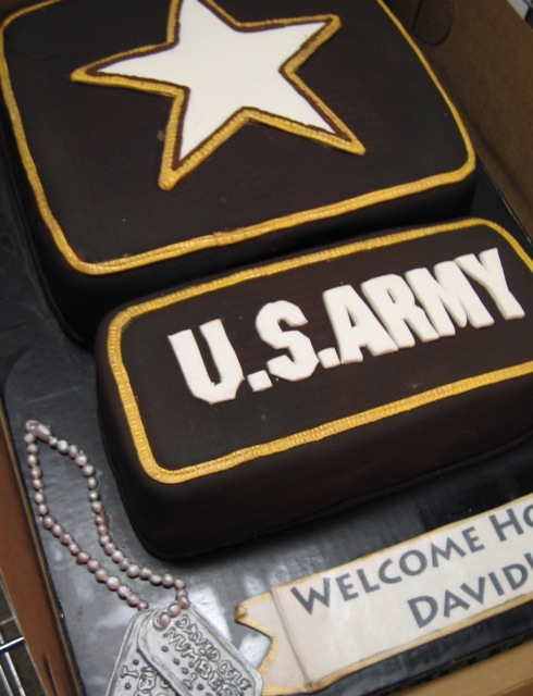 Army Patch Cake Army Patch And Fondant Dog Tags For A