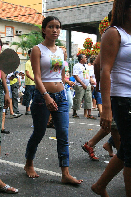 Barefoot girl walking in the Cirio procession  Belem PA
