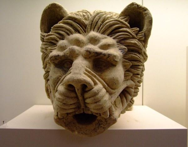 Roman Lion Fountain Spout Olympia Greece Clay
