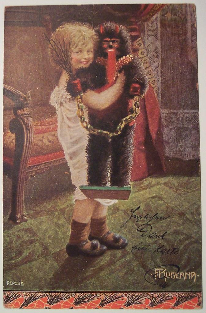 Vintage Christmas Postcard Krampus Girl With Her