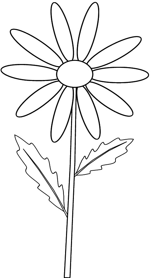 Yellow daisy on stem_ outline clip art sketch to colour, l