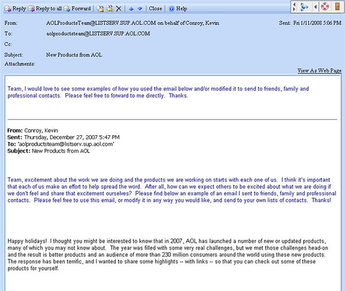 AOL Email Screenshot Of Email Sent By AOL Product Chief