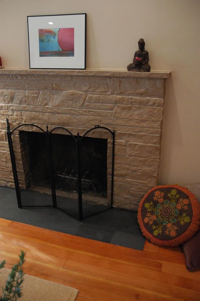 Textures of Zen makeover wood flat slate hearth firepla