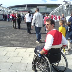 Wheelchair Emirates Plastic Patio Chairs Walmart Off To The First Game At A New Home Tim Rushby Smith By