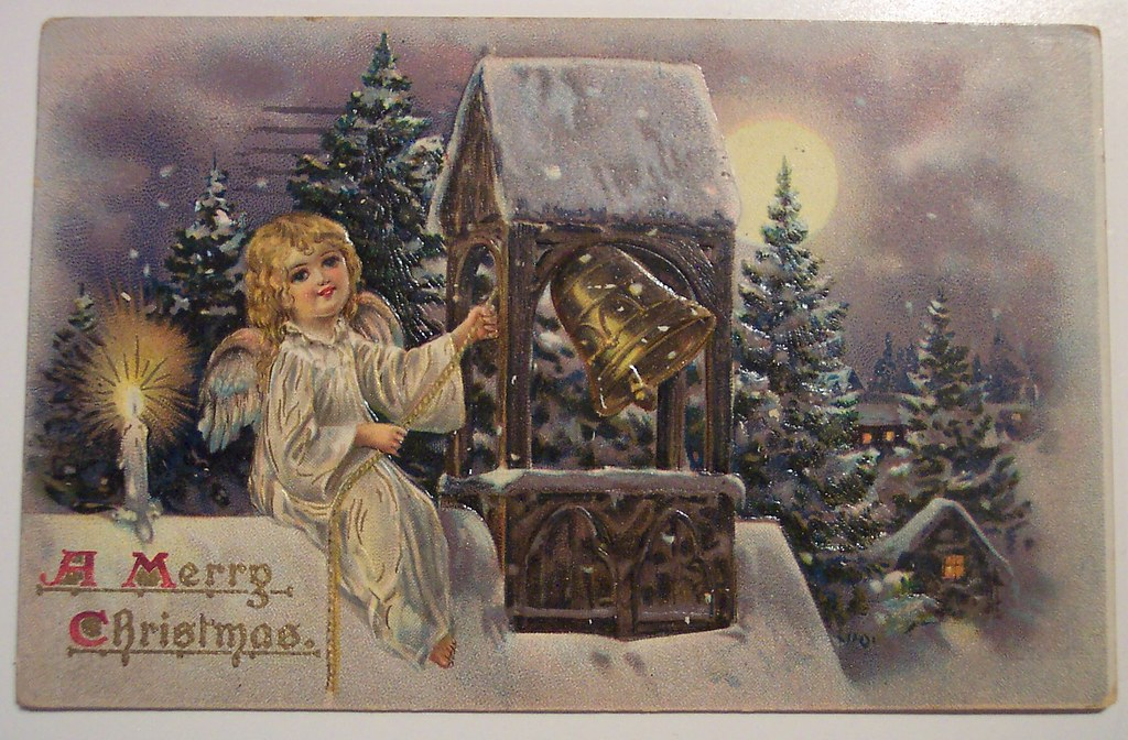 Vintage Cute Girl Wallpaper Vintage Christmas Postcard Angel Dave Flickr