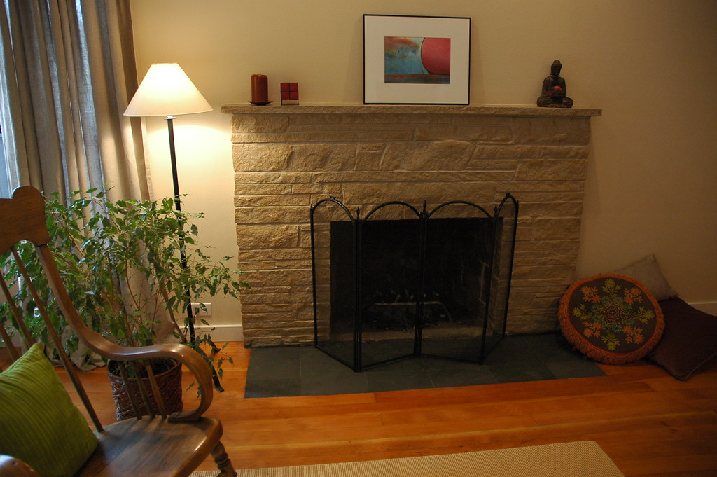 Zen style  painted stone fireplace makeover with flat bla  Flickr
