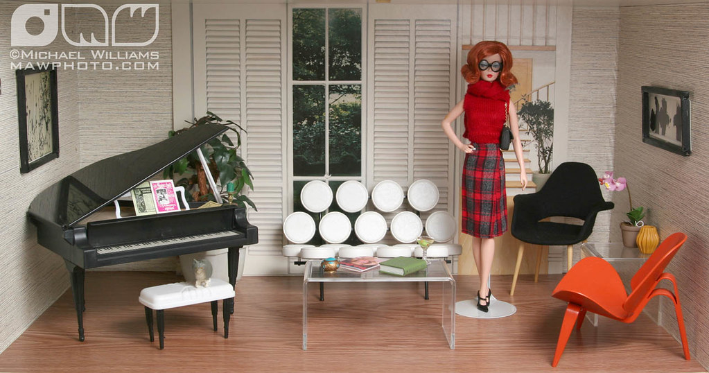 Cindy Whiteside Barbie Dioramas  LIVING ROOM  Backdrop
