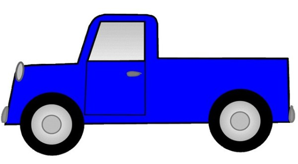 blue ute pickup truck sketch clipart