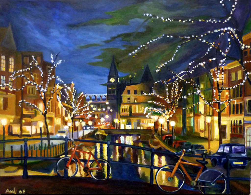 Amsterdam Winter Night Painting  A painting I just