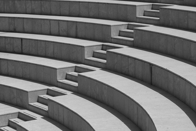 steps  A modern amphitheatre with seats and steps