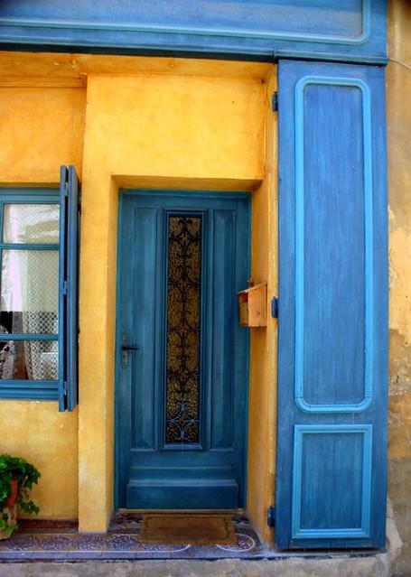 Blue Door Yellow Walls  A door and shutter in Menerbes