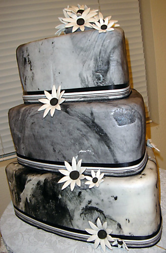 Black and white marbled wedding cake  A combination of