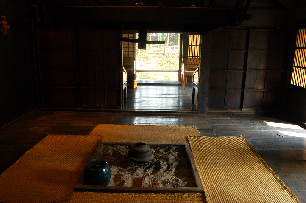 shirakawago house  The hearth in the Shirakawago house