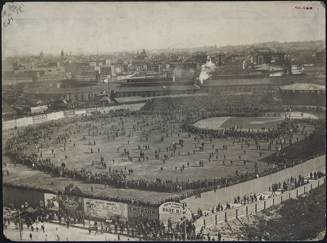 Fans on the field at the Huntington Avenue Grounds 1903 W