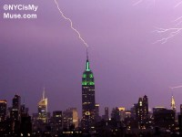Empire State Building in Green getting struck by lightning ...