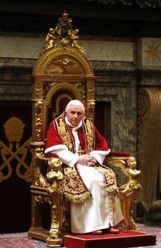 Pope Benedict XVI seated on Throne  December 21 2007
