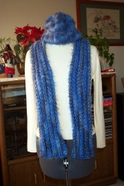 angel hair hat scarf blue pattern