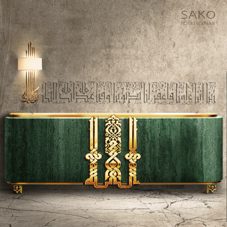 Emerald  Dining room sideboard with Emerald green marble