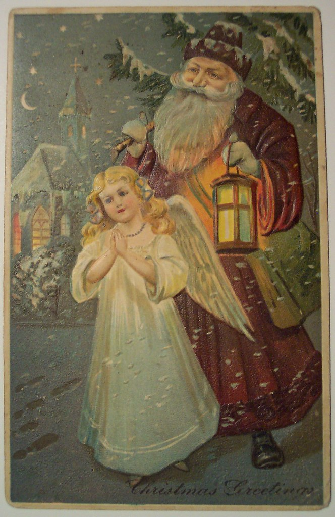 Candle Wallpaper Hd Vintage Christmas Postcard Santa And Angel Dave Flickr