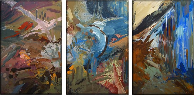Tryptic Modern Art Blues and Greys  This is my latest