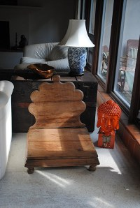 Antique monk's folding meditation chair is smooth worn and ...