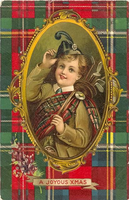 """A JOYOUS XMAS A Vintage """"Scottish"""" Christmas Postcard"""
