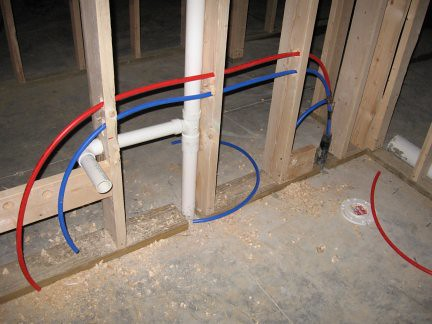 Half Bath Plumbing rough in  Blue is cold water red is
