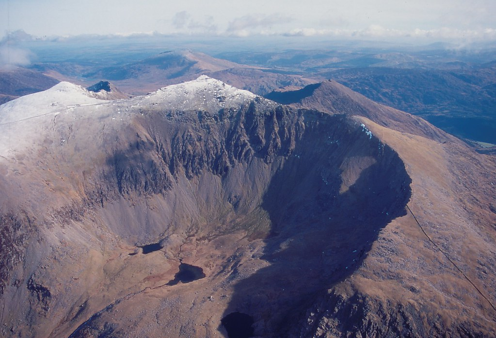 Aerial view of snow capped Mount Snowdon  Aerial view of th  Flickr