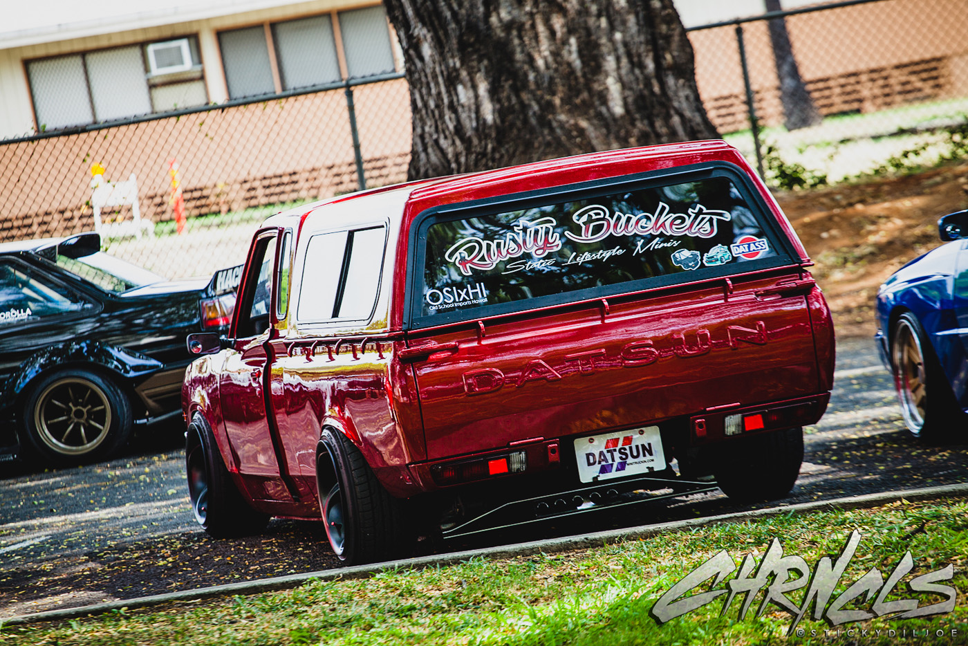 datsun 620 pickup truck in the staging area outside waiting for the rest of the osixhi guys to rollinu2026