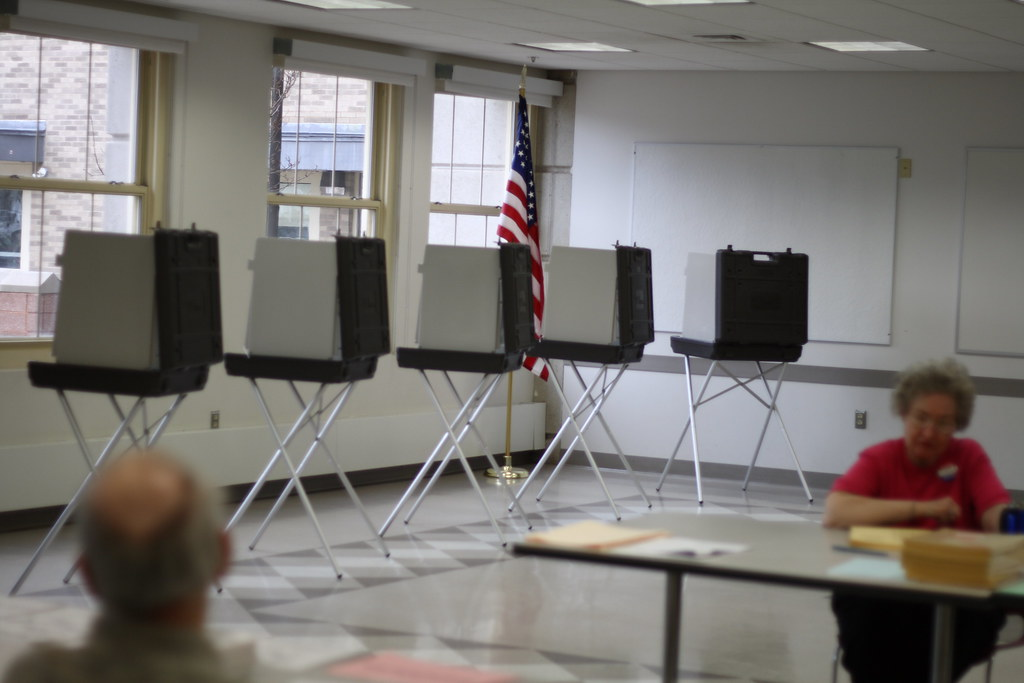 Voting booths at Sedgwick Middle School West Hartford CT