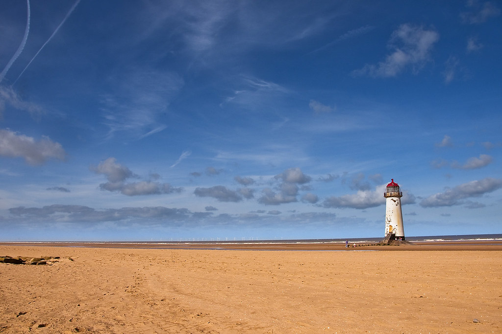Talacre Beach And Lighthouse Looking Across The Empty