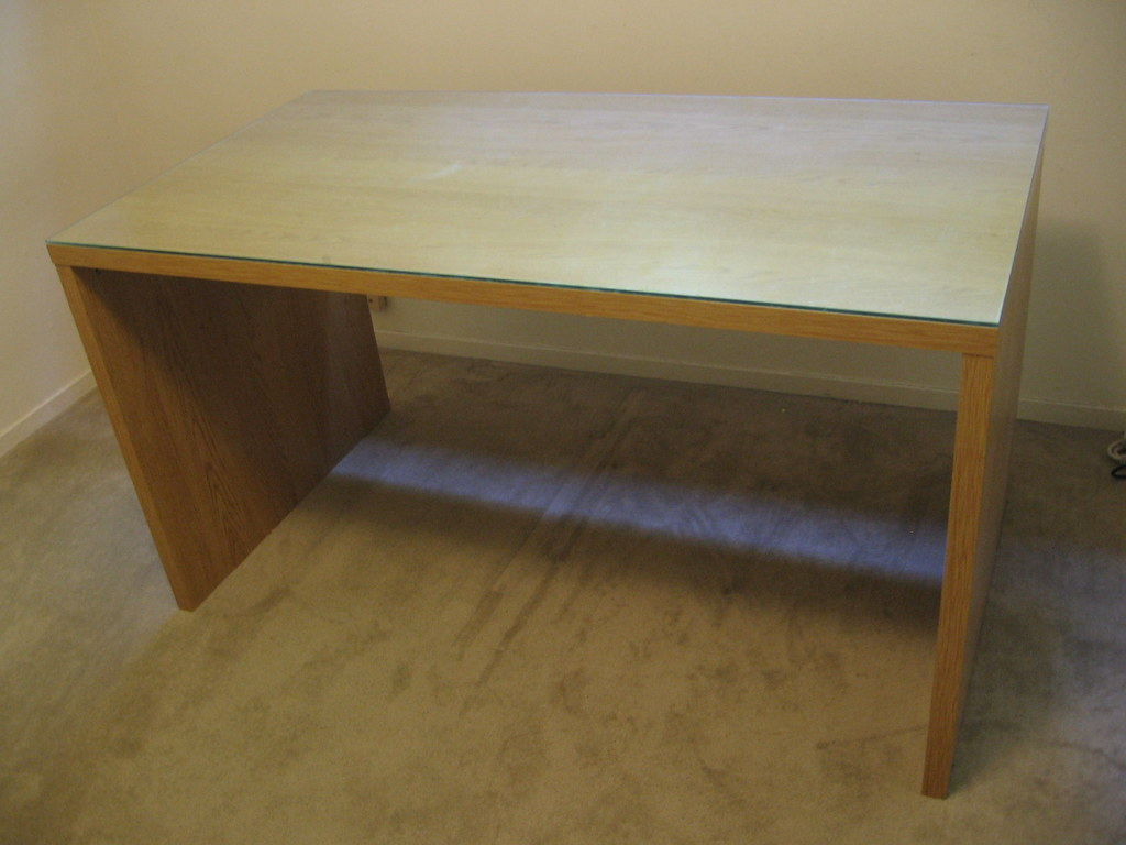 IKEA MIKAEL desk with glass top  Color Birch In very