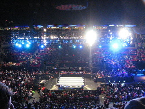 Smackdown ring  a WWE show at the Rose Garden Arena in