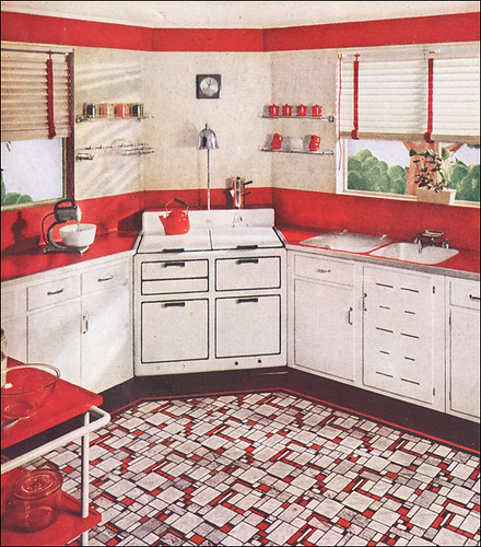 red and white vintage kitchen 1937 Sealex Red & White Kitchen | Source: American Home