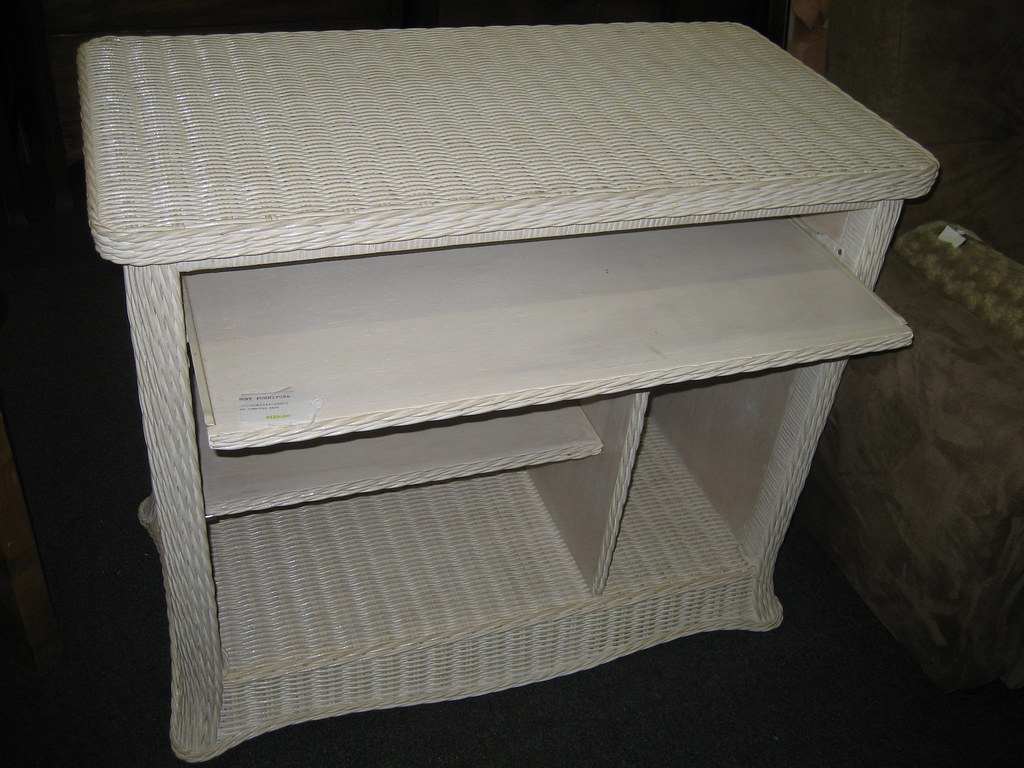 White wicker computer desk  clearance  Consignment