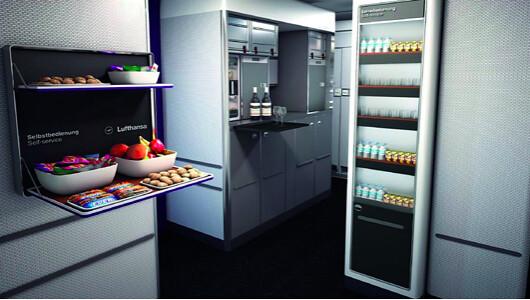 Bar self-service Business Class primer A350 Lufthansa