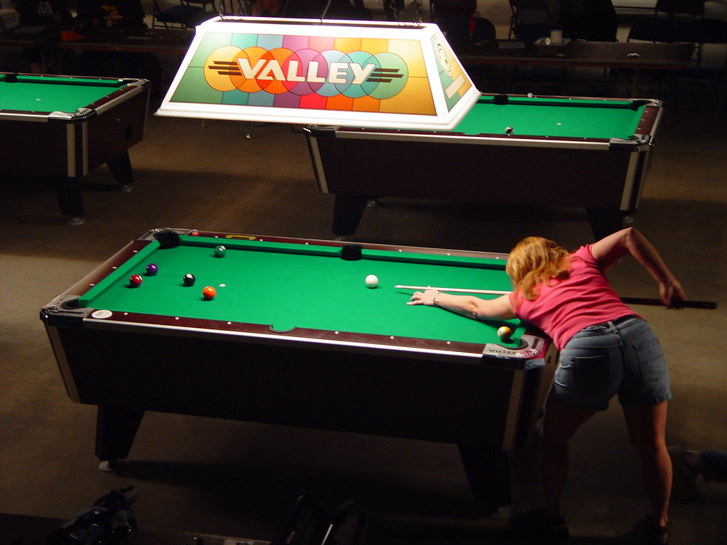 Valley Pool Tournament  Battle Creek  Girl Shooting Pool