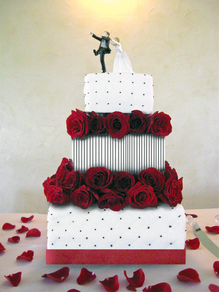 Three Tier Cake For Poker Themed Wedding Fondant And Fres