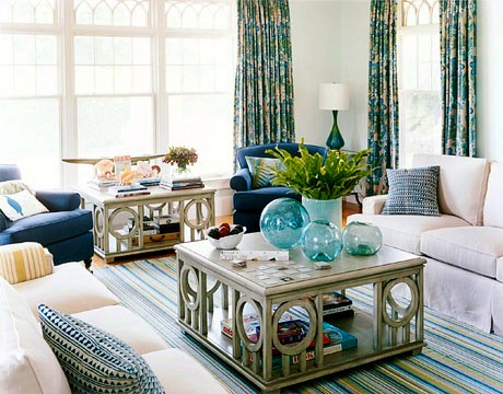 Bright striped area rug in a living room with a sea shore  Flickr