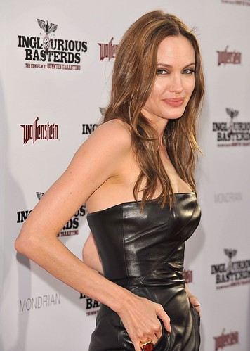 Angelina Leather Dress 2 HOLLYWOOD AUGUST 10 Actress