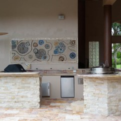 Outdoor Kitchen Pics Fauset Stacked Stone Marble Tile Counter Patio Bar | ...