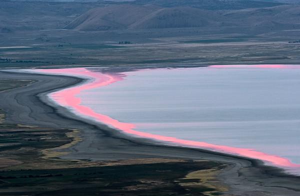 Upper Alkali lake at sunset  The backside of the Warner
