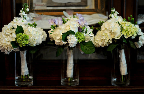 bridesmaids and maidmatron of honor bouquets  white hydran  Flickr