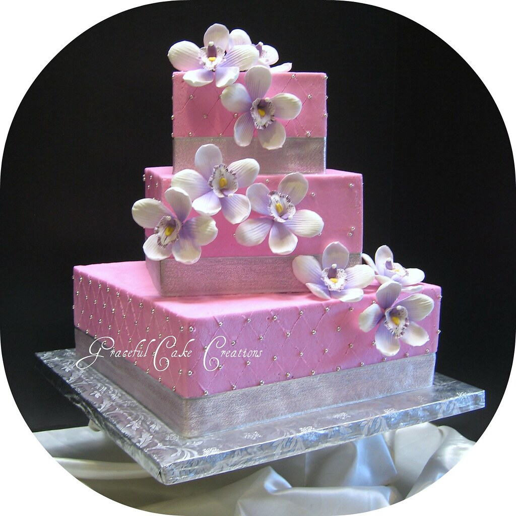 Pink And Silver Tropical Wedding Cake Grace Tari Flickr