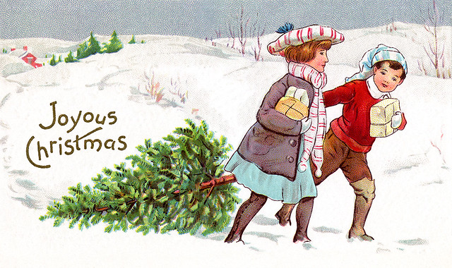 A Country Christmas 1913 Vintage Xmas Card Illustration