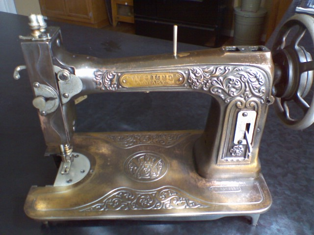 White bronze embossed rotary sewing machine  bustlelady