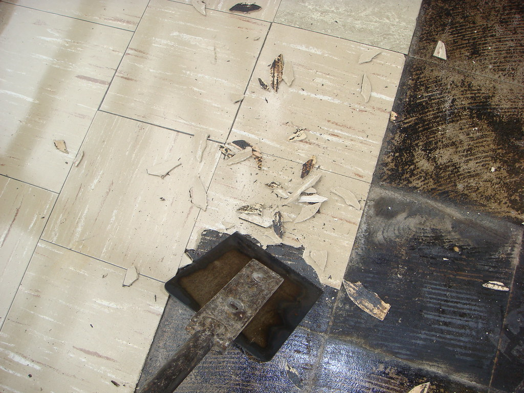 Asbestos Floor Tile Removal  Example of common method of