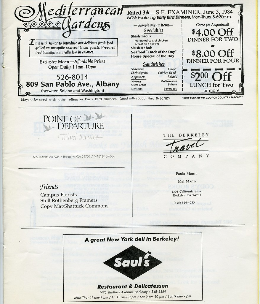 1987: The Festival of Jewish Musical Traditions (Brochure